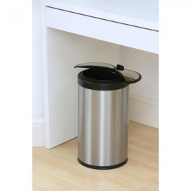 12L brushed steel bin