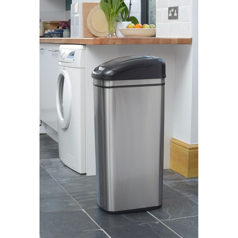 exceptional Slimline Waste Bins Kitchen #2: 60 Litre Slimline Stainless Steel Kitchen Bin u2013 Big Capacity While Thin u0026amp; Narrow